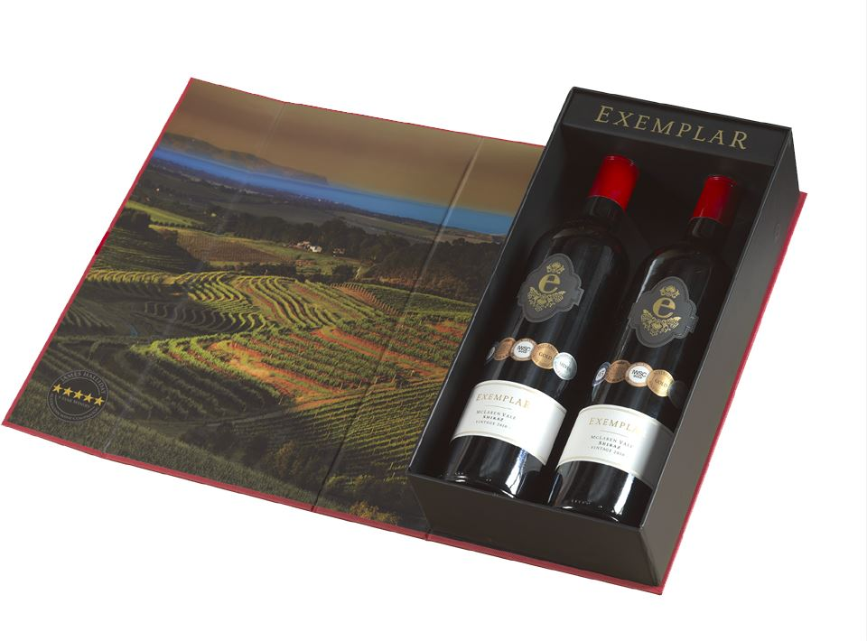 Exemplar Australian Shiraz Double Gift Box - Open View